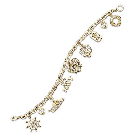 Navy Pride Charm Bracelet: U.S. Navy Jewelry Gift by The Bradford Exchange Online - Lovely Exchange