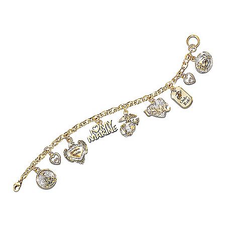 I Love My Marine Charm Bracelet: Marine Jewelry Gift by The Bradford Exchange Online - Lovely Exchange