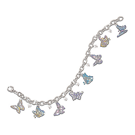 On Graceful Wings Engraved Butterfly Charm Bracelet: Inspirational Jewelry Gift