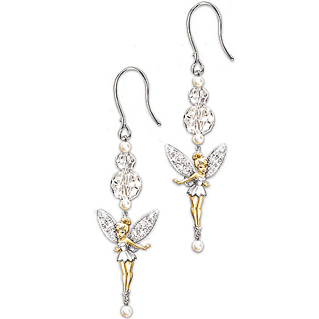 Disney Tinkerbell Tinker Bell Dazzle Beaded Dangle Earrings: Jewelry Gift