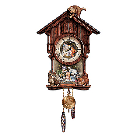 Moments Of Purr-fection Wooden Cuckoo Clock With Kittens: Collectible Cat Lover Gift