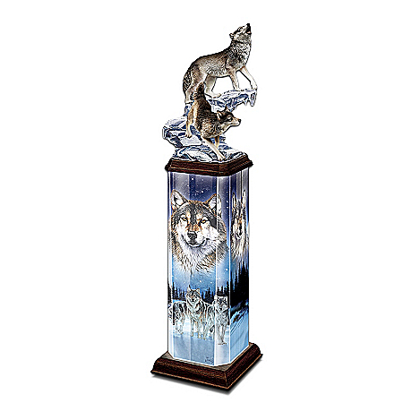 Moonlit Passage Collectible Wolf Art Illuminated Tabletop Sculpture by The Bradford Exchange Online - Lovely Exchange