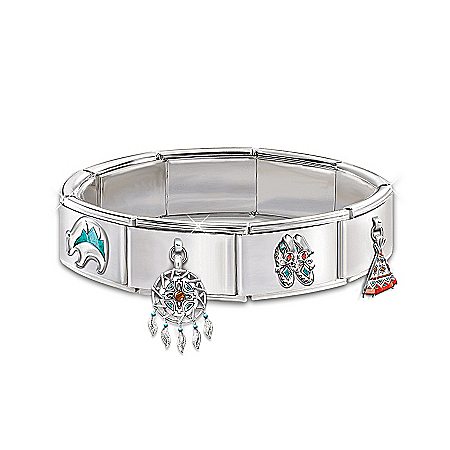 Native American Collectibles Native-American Inspired Sacred Spirits Italian Charm Bracelet