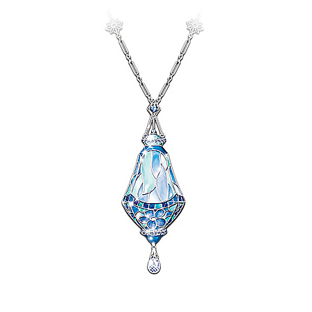 Era Of Louis Tiffany Style Teardrop Pendant Necklace With Swarovski Crystals