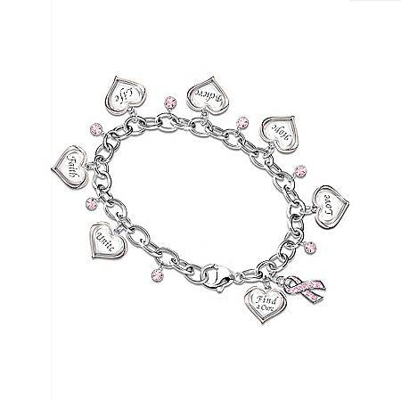 Circle Of Hope Engraved Heart Charm Bracelet: Breast Cancer Awareness Jewelry Gift