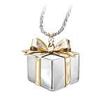 Granddaughter Gift Box-Shaped Diamond Pendant Necklace - Grandma's Gift