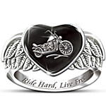 Ride Hard, Live Free Engraved Sterling Silver Ladies Motorcycle Ring - Jewelry Gift For Her