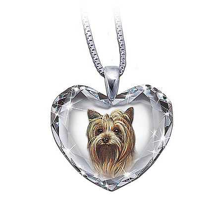 Heart-Shaped Crystal Dog Pendant Necklace: Yorkie, Close To My Heart