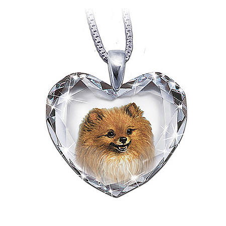 Heart-Shaped Crystal Dog Pendant Necklace: Pomeranian, Close To My Heart