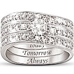 Engraved Diamond Women's Three Band Ring - Hidden Message Of Love