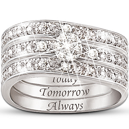 Engraved Diamond Women's Three Band Hidden Message Of Love