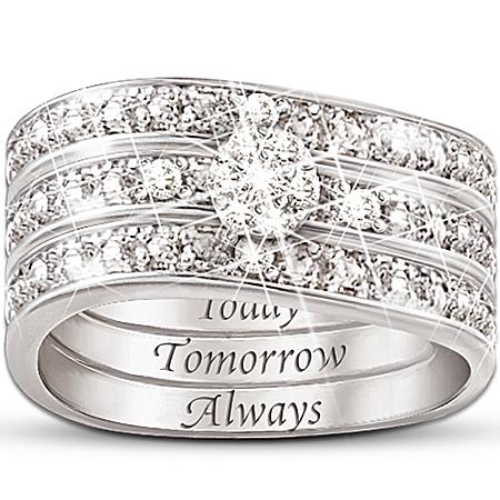 Engraved Diamond Women's Three Band Ring: Hidden Message Of Love
