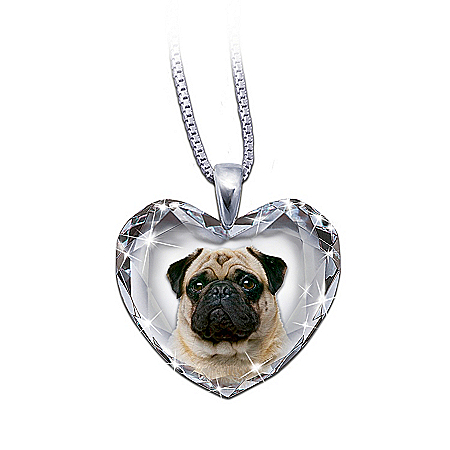 Pug Dog Heart-Shaped Crystal Pendant Necklace