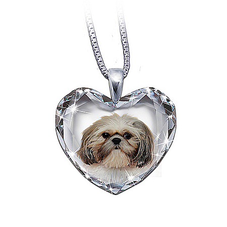 Heart-Shaped Crystal Dog Pendant Necklace: Shih Tzu, Close To My Heart