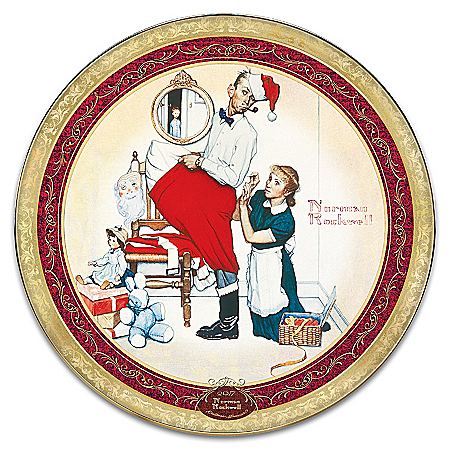 Norman Rockwell Santa's Surprise Heirloom Porcelain Collector Plate by The Bradford Exchange Online - Lovely Exchange