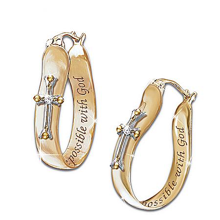 Thomas Kinkade Religious Diamond Earrings: Believe