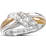 Personalized Engraved Couples Diamond Ring - Diamond Embrace