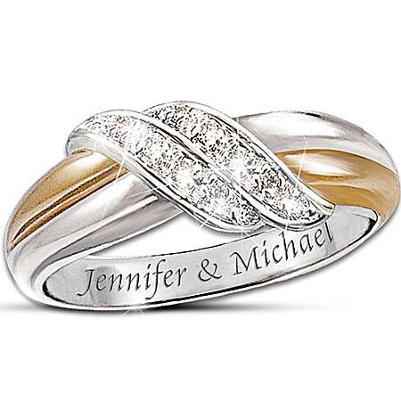 Personalized Engraved Couples Diamond Ring: Diamond Embrace