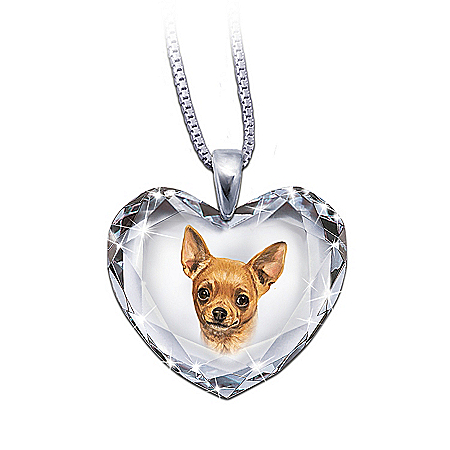Heart-Shaped Crystal Dog Pendant Necklace: Chihuahua, Close To My Heart