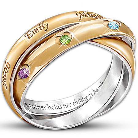 A Heartfelt Bond Personalized Birthstone Trinity Ring: Engraved Jewelry Gift For Mom