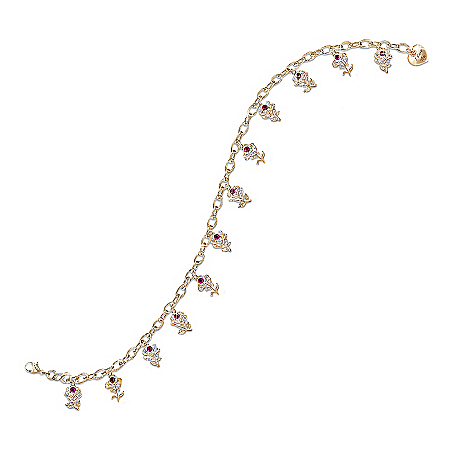 A Dozen Roses Ruby Engraved Charm Bracelet