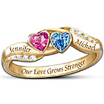 Personalized Birthstone Couples Ring - Love's Journey