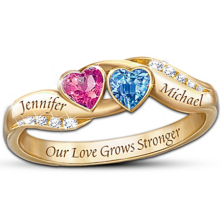 Personalized Birthstone Couples Ring: Love's Journey by The Bradford Exchange Online - Lovely Exchange