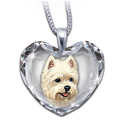 Heart-Shaped Crystal Dog Pendant Necklace: Close To My Heart