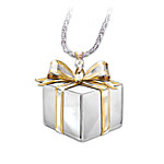 Mom A Gift Of Love Sterling Silver Diamond Gift Box Necklace
