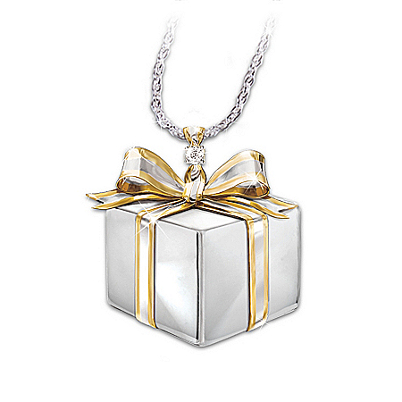 Mom, A Gift Of Love Sterling Silver Diamond Gift Box Pendant Necklace: Gift For Mothers