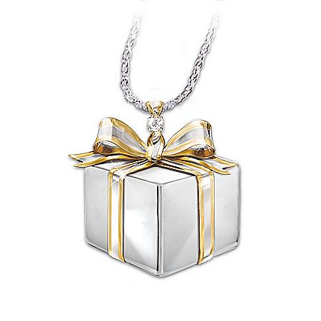 Mom, A Gift Of Love Diamond Gift Box Pendant