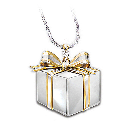 Daughter-In-Law Gift Sterling Silver Diamond Gift Box Pendant Necklace: Jewelry Gift
