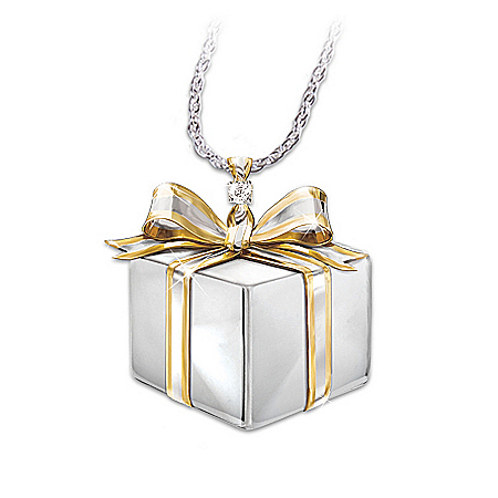 Gift for Daughter: Silver And Diamond Pendant Necklace: Daughter Gift Of Love