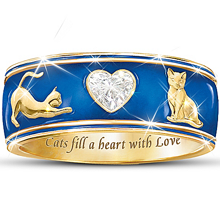 Cats Fill A Heart With Love Enamel Ring