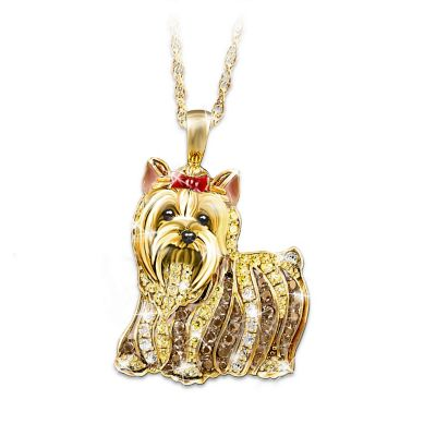 Yorkie Lovers Best In Show Yorkie Crystal Pendant Necklace