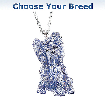 Light Of Devotion Dog Breed Crystal And Diamond Pendant Necklace: Dog Lover Jewelry Gift