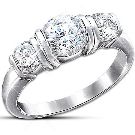 Majestic Radiance Diamonesk Women's Ring: Romantic Jewelry Gift