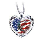 American Pride Crystal Heart Pendant Necklace