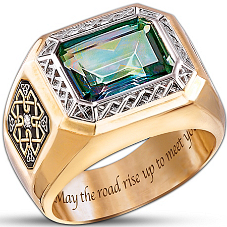Diamond And Mystic Topaz Men's Ring: Pride Of Ireland