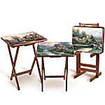 Thomas Kinkade Artistic Wooden Tray Tables