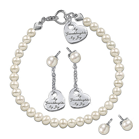 Granddaughter Cultured Pearl Bracelet And Convertible Earrings Set: Grandma's Pearls Of Wisdom