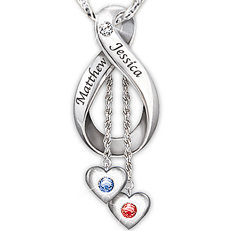 Personalized Engraved Diamond And Birthstone Pendant Necklace