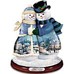 Thomas Kinkade Musical Snowman Figurine - Snow Happy Together