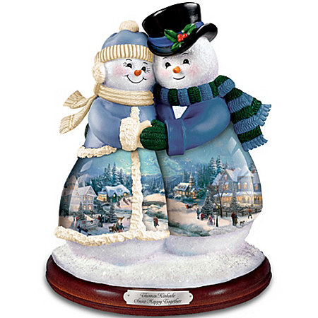 Thomas Kinkade Musical Snowman Snow Happy Together