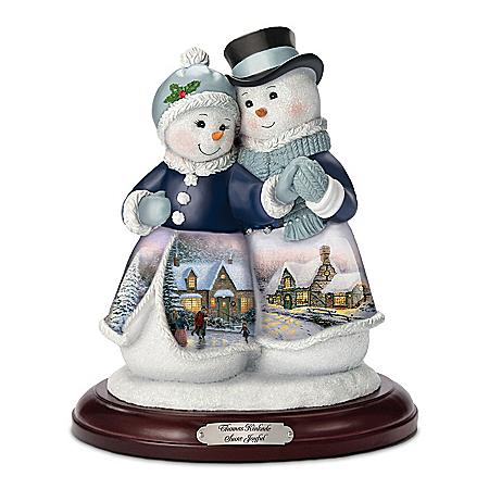 Thomas Kinkade Joyful Musical Snowman Couple Figurine