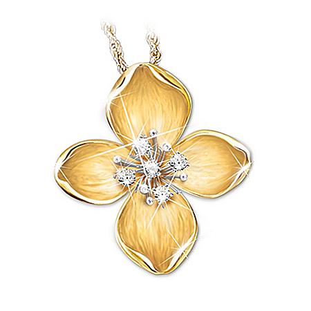 Three Diamond Pendant Necklace: The Legend Of The Dogwood