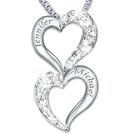 Loving Hearts Personalized Sterling Silver And Diamond Pendant Necklace