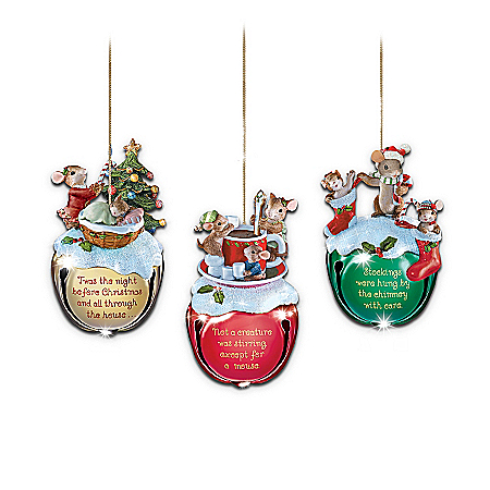 Charming Tails Jingle Bells Mouse Christmas Ornaments: Set Of Three