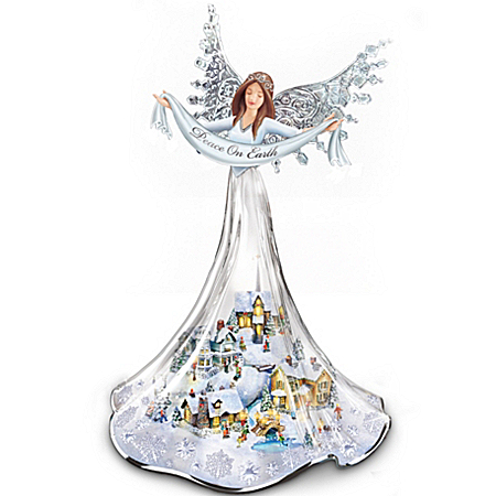 Thomas Kinkade Illuminated Musical Angel Figurine: Angel Of Peace