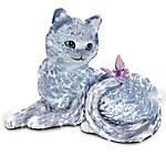 Smitten Crystal Kitten And Butterfly Figurine